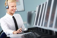 Young switchboard operator Stock Image