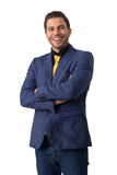 A young sympathetic businessman. In a Blue suit with a golden tie Royalty Free Stock Photos