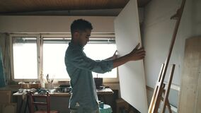 Talented artist starting a new painting