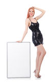 Young tall woman holding blank board isolated on Royalty Free Stock Photography