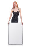 Young tall woman holding blank board isolated on. The young tall woman holding blank board isolated on white Royalty Free Stock Photos