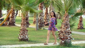 Young tanned woman with long hair walks along path between tropical palm trees. Young tanned woman with long hair walks along the path between tropical palm stock footage