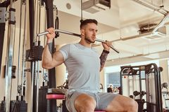 Young tattoed man is doing exercise for back on training apparatus in gym.  stock photo