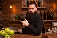 Young tattooed bartender with great beard tasting a glass of wine. stock image