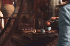 Young girl pouring tea Royalty Free Stock Photography