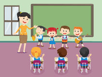 Young teacher with children playing music in classroom royalty free illustration