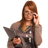 Young teacher with folder in her hands Royalty Free Stock Photos