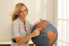 Young Teacher At Globe Royalty Free Stock Photo