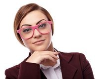 Young teacher with hand on chin Stock Photos