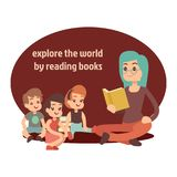 Young teacher and happy kids reading book stock illustration