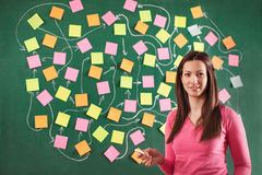 Young teacher making complex schedule on a chalkboard Royalty Free Stock Photography