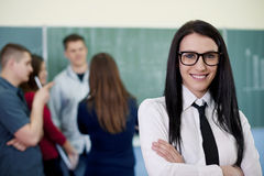 Young teacher at the school class Royalty Free Stock Photos
