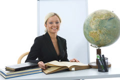 Young teacher will teach geography Stock Images