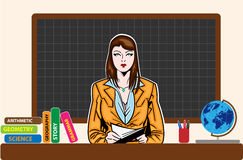 Young teacher woman on board Royalty Free Stock Image