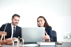 Young team of lawyers. At workplace Royalty Free Stock Photo