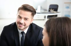 Young team of lawyers. At workplace Stock Photo