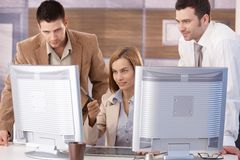 Young team learning computer graphic design Stock Image