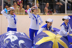 Young team from a school of skating on ice performs, disguised as sailors, at the International Cup Ciutat de Barcelona Open Royalty Free Stock Photos