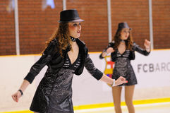 Young team from a school of skating on ice performs at the International Cup Ciutat Stock Photography