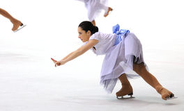 Young team from a school of skating on ice performs at the International Cup Ciutat de Barcelona Stock Image