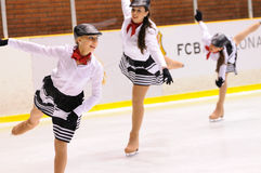 Young team from a school of skating on ice performs at the International Cup Ciutat de Barcelona Royalty Free Stock Photo