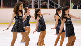Young team from a school of skating on ice performs at the International Cup Ciutat de Barcelona Stock Photos