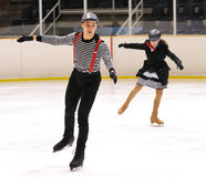 Young team from a school of skating on ice performs at the International Cup Ciutat de Barcelona Open Stock Photography