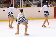 Young team from a school of skating on ice performs at the International Cup Ciutat de Barcelona Open Stock Image