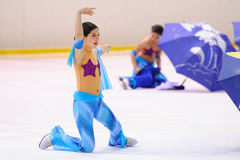 Young team from a school of skating on ice performs at the International Cup Ciutat de Barcelona Open Royalty Free Stock Image