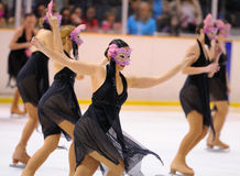 Young team from a school of skating on ice performs at the International Cup Ciutat de Barcelona Open Stock Images