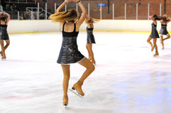 Young team from a school of skating on ice performs at the International Cup Ciutat de Barcelona Open Stock Photo