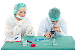 Young team of scientists in laboratory Royalty Free Stock Photo