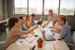 Photo view from above of team meeting concept. royalty free stock image
