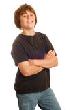 Young teen with attitude. Happy young teen boy with big smile on white background Stock Photo