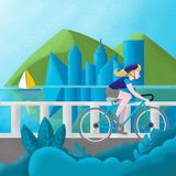Young teen in a blue T-shirt and blue helmet travels along the river on a bicycle., illustration vector illustration