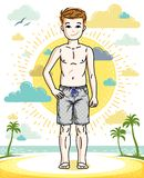 Young teen boy cute children standing in colorful stylish beach. Shorts. Vector human illustration. Childhood lifestyle clip art Stock Photos