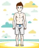 Young teen boy cute children standing wearing fashionable beach. Shorts. Vector beautiful human illustration. Childhood lifestyle clip art Stock Photography