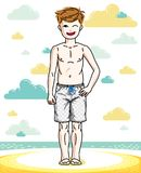 Young teen boy cute children standing wearing fashionable. Beach shorts. Vector pretty nice human illustration. Childhood lifestyle cartoon Stock Photo