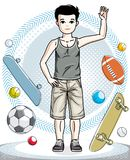 Young teen boy cute nice standing wearing fashionable casual clo. Thes. Vector beautiful human illustration. Childhood lifestyle clip art Stock Image