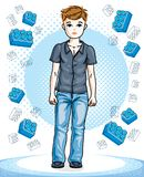 Young teen boy cute nice standing wearing fashionable casual clo. Thes. Vector attractive kid illustration. Fashion theme clipart Stock Image