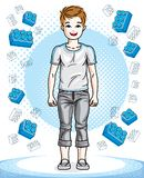 Young teen boy cute nice standing wearing fashionable casual clo. Thes. Vector kid illustration. Childhood lifestyle clip art Royalty Free Stock Photo