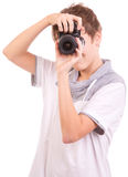Young teen with camera Royalty Free Stock Image