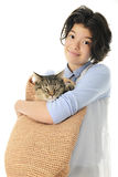 Young Teen with a Cat in Her  Bag Royalty Free Stock Photography