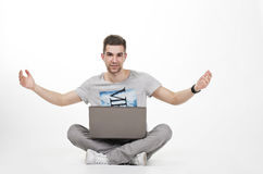 Young teen with computer Stock Image