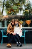 Young teen couple date hug sweet pure love romance royalty free stock photography