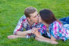 Young teen couple kissing Stock Photos