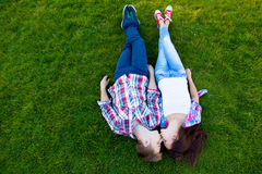 Young teen couple kissing Royalty Free Stock Image