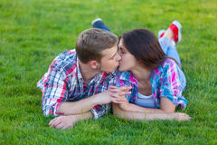 Young teen couple kissing Royalty Free Stock Photo