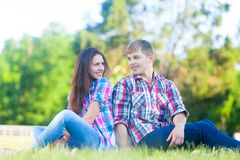 Young teen couple in the park Royalty Free Stock Photography