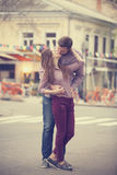 Young teen couple on the street Royalty Free Stock Photo